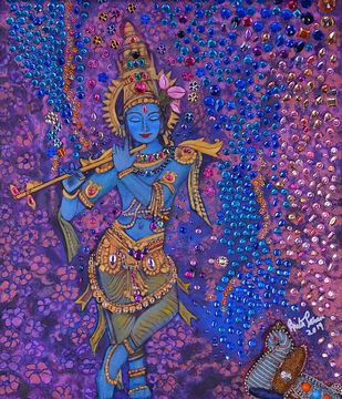 Krishna by Anita Saran, Traditional Painting, Mixed Media on Canvas, Blue color