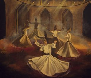 Sufi - The Oneness by Eshana Ebrahim, Expressionism Painting, Oil on Canvas, Brown color