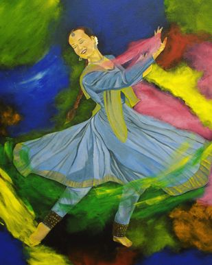 Vibrance of Passion by Eshana Ebrahim, Expressionism Painting, Oil & Acrylic on Canvas, Green color