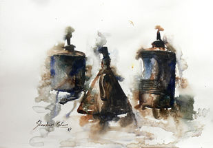 OLD LAMP 01 by SHANKAR LOHAR, Impressionism Painting, Watercolor on Paper, Gray color