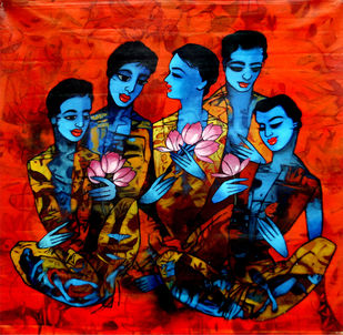 Untitled by Mukesh Salvi, Expressionism Painting, Acrylic on Canvas, Red color