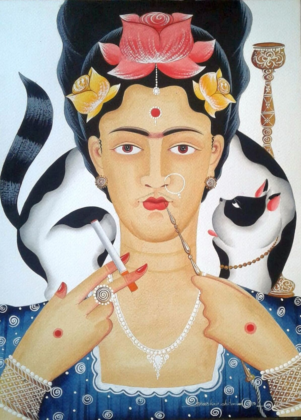 Kali-Kahlo with hookah and cat by Bhaskar Chitrakar, Folk Painting, Natural colours on paper, Beige color