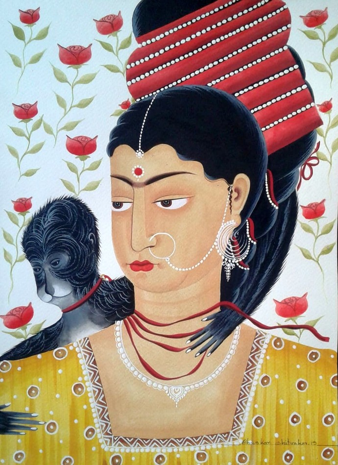 Kali-Kahlo with monkey and red ribbons by Bhaskar Chitrakar, Folk Painting, Natural colours on paper, Beige color