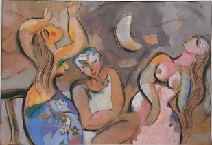 moonstruck by Judhajit Sengupta, Expressionism Painting, Tempera on Paper, Brown color