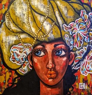 Girl in a turban III by Suruchi Jamkar, Expressionism Painting, Acrylic on Canvas, Brown color
