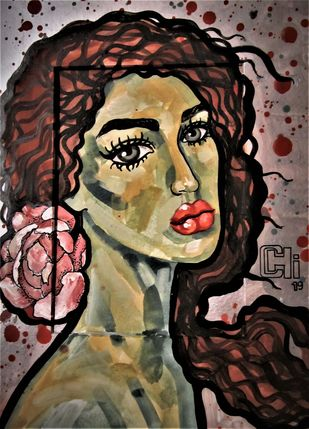 Girl with a flower I by Suruchi Jamkar, Expressionism Painting, Watercolor & Ink on Paper, Brown color