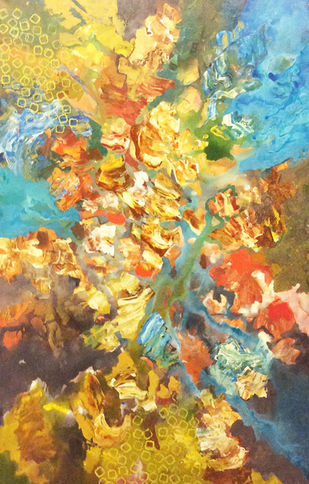 Terrestrial Life by Sonali S Iyengar, Abstract Painting, Acrylic on Canvas, Beige color