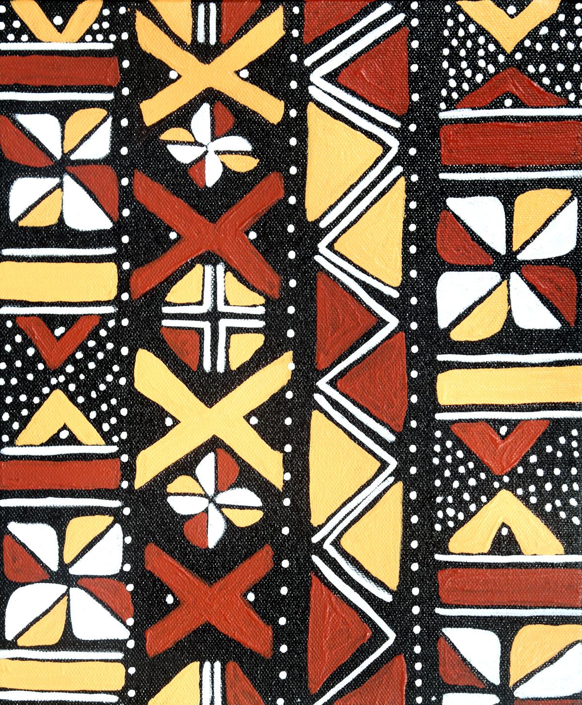 Bogolan_SD2 by Scharada Dubey, Geometrical Painting, Acrylic & Ink on Canvas,
