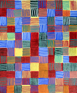Stripes_SD1 by Scharada Dubey, Geometrical Painting, Acrylic & Ink on Canvas, Brown color