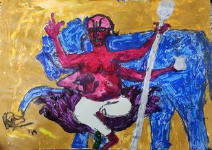 Brihaspati or Jupiter by Rabraj Saimy, Expressionism Painting, Acrylic on Paper, Blue color