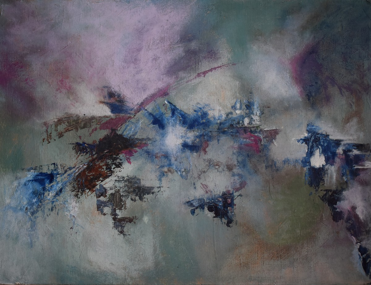 Infinite cosmos by Rinden, Abstract Painting, Acrylic on Board, Gray color