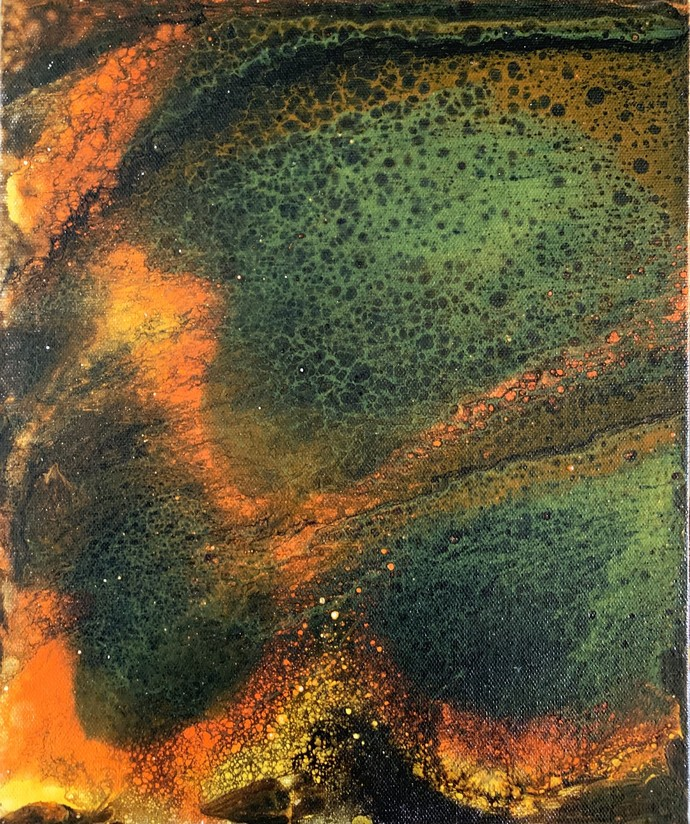Abstract by Amit Pithadia, Abstract Painting, Acrylic on Board, Green color