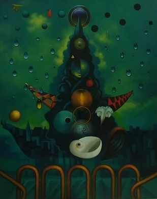 Divine Moments by Manish Rao, Expressionism Painting, Acrylic on Canvas, Green color