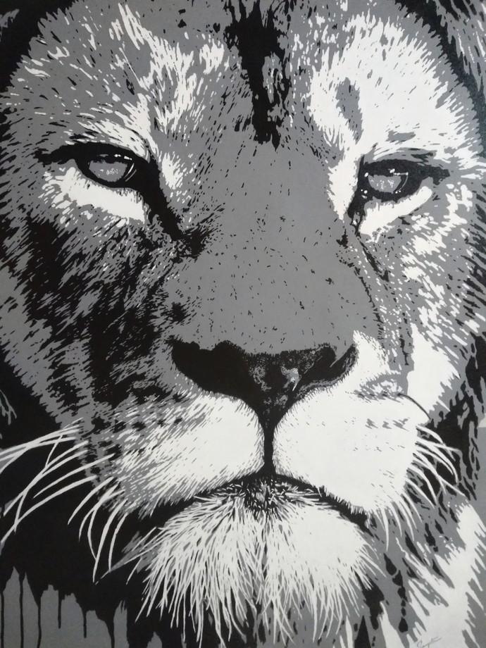 Lion's Gaze Digital Print by Sangeeta Jaiswal,Expressionism