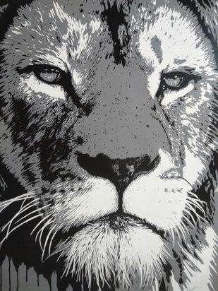 Lion's Gaze by Sangeeta Jaiswal, Expressionism Painting, Acrylic on Canvas, Gray color