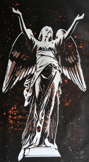Guardian Angel by Sangeeta Jaiswal, Expressionism Painting, Acrylic on Canvas, Gray color