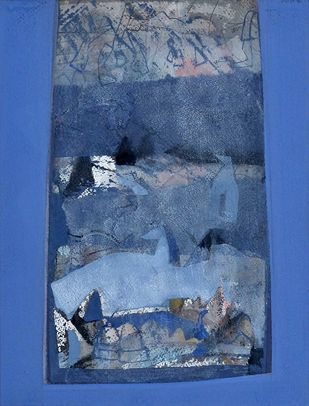 Water colour by Tapas Ghosal, Abstract Painting, Watercolor on Paper, Blue color