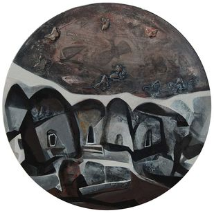 Round Abstract by Tapas Ghosal, Abstract Painting, Acrylic on Canvas, Gray color