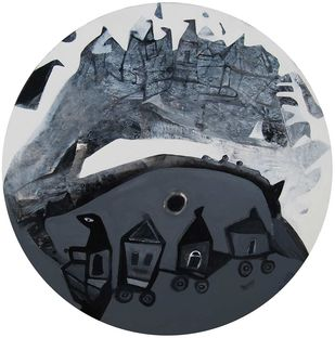 Cityscape by Tapas Ghosal, Abstract Painting, Acrylic on Canvas, Gray color