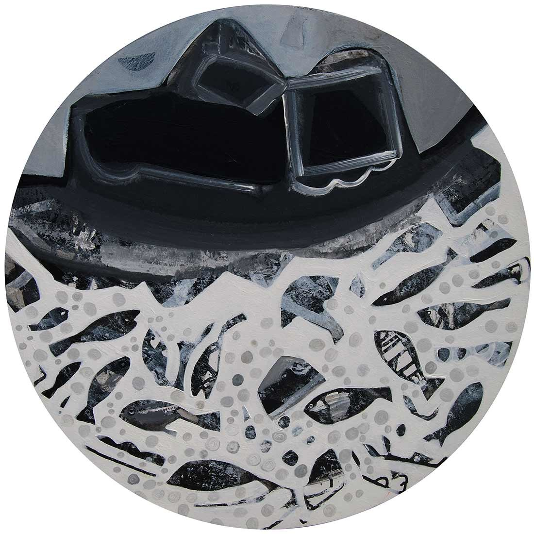 Black and white Cityscape by Tapas Ghosal, Abstract Painting, Acrylic on Canvas, Gray color
