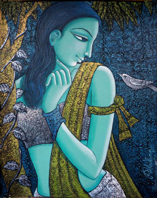 Untitled by Rakhi Kumar, Expressionism Painting, Acrylic on Canvas, Blue color