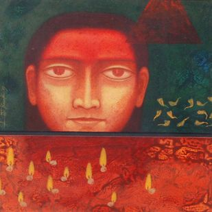 """Face, Tempera on Board, Red, Yellow colors by Indian Artist """"In Stock"""" by Atin Basak, Expressionism Painting, Tempera on Board, Red color"""