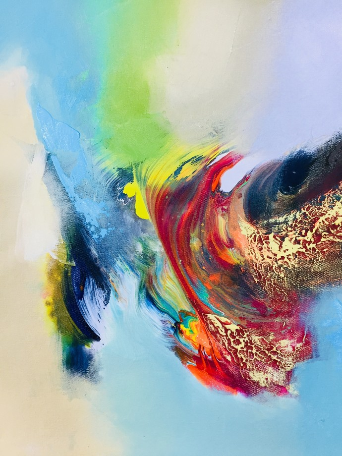 Happiness 1 by Jai Srivastava, Abstract Painting, Acrylic & Ink on Canvas, Cyan color
