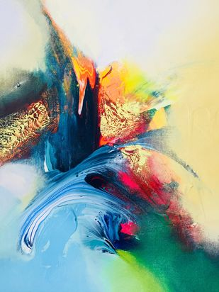 Happiness 2 by Jai Srivastava, Abstract Painting, Acrylic & Ink on Canvas, Beige color