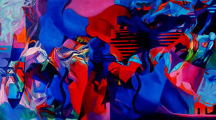 Colour of the Universe XIV by Sumitava Maity, Abstract Painting, Oil on Canvas, Blue color