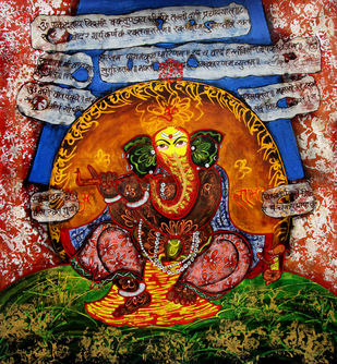 Ganesha by Vinay Trivedi, Traditional Painting, Mixed Media on Canvas, Brown color