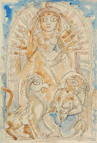 Durga by Shyamal Roy, Illustration Painting, Mixed Media on Paper, Beige color