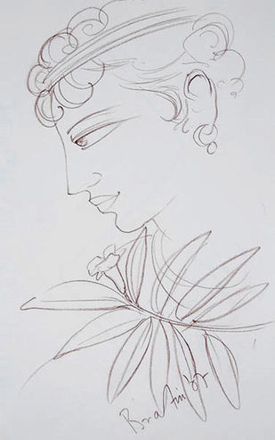 """Krishna, Conte on Paper by Contemporary Artist """"In Stock"""" by Bratin Khan, Illustration Drawing, Conte on Paper, Gray color"""