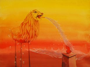 Untitled by Pratul Dash, Surrealism Painting, Mixed Media on Paper, Orange color