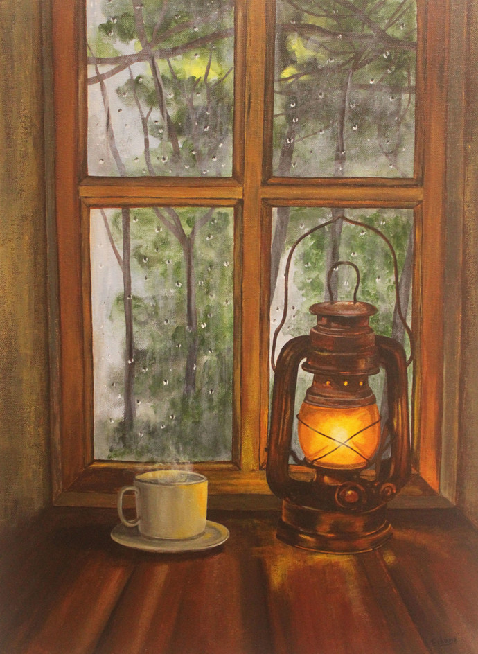 Lightning Lamp by Eshana Ebrahim, Impressionism Painting, Acrylic on Canvas, Brown color