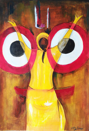 Jai jagannath by NARENDRA NIGAM, Expressionism Painting, Acrylic on Paper, Brown color