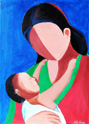 Mother and child by NARENDRA NIGAM, Expressionism Painting, Acrylic on Canvas, Blue color