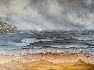 Thunderstorm at the beach by Kajal Nalwa, Impressionism Painting, Acrylic on Canvas, Gray color