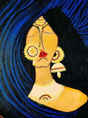 Damsel in distress by Richa Sikaria, Decorative Painting, Acrylic & Ink on Canvas, Blue color