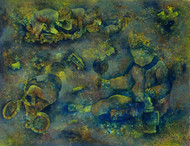 Untitled by Lakhan Singh Jat, Expressionism Painting, Acrylic on Paper, Green color
