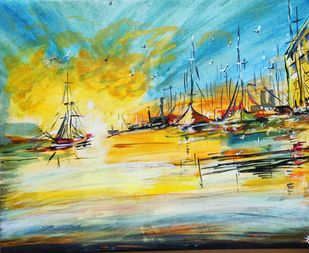 The Sea Harbor by Richa Sikaria, Impressionism Painting, Acrylic on Canvas, Beige color