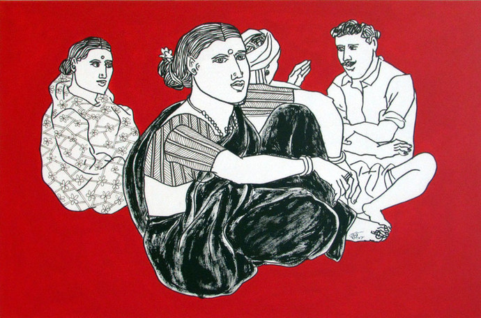 Untitled by Laxman Aelay, Expressionism Painting, Acrylic on Canvas, Red color