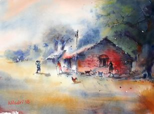 The pure India by Niladri Ghosh, Impressionism Painting, Watercolor on Paper, Beige color
