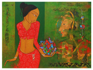 Street Art - III by H S BHATI, Expressionism Painting, Acrylic on Canvas, Green color