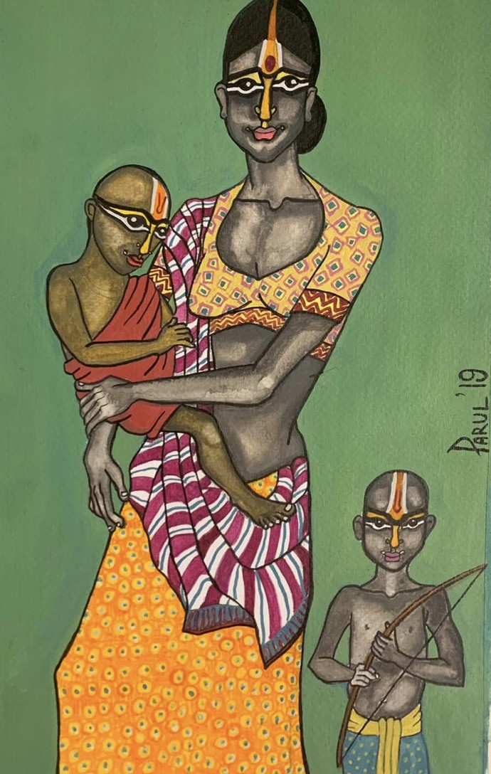 Maa by Parul Aggarwal, Expressionism Painting, Watercolor and charcoal on paper, Green color