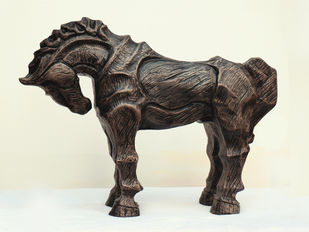 Horse 1 by Devidas Dharmadhikari, Expressionism Sculpture | 3D, Fiber Glass, Beige color