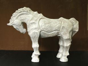 horse2 by Devidas Dharmadhikari, Art Deco Sculpture | 3D, Fiber Glass, Brown color