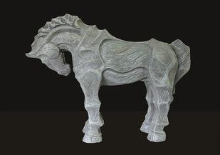 horse-4 by Devidas Dharmadhikari, Art Deco Sculpture | 3D, Fiber Glass, Gray color