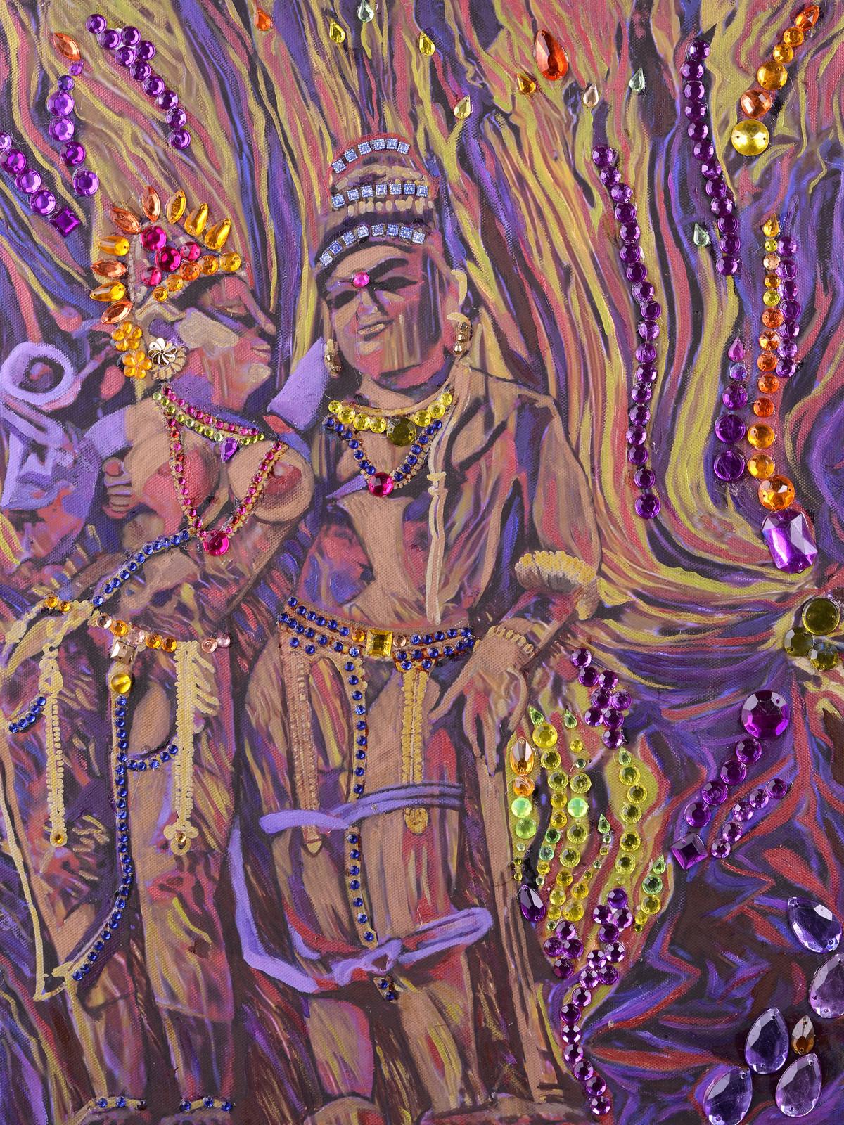 Shiva and Parvati Digital Print by Anita Saran,Expressionism