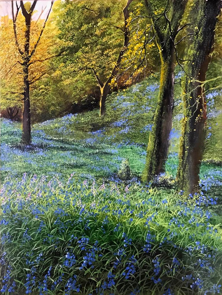 Spring Woodland by Anushree Khilauria, Impressionism Painting, Oil on Canvas, Green color