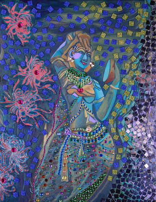 Indian lady with mirror by Anita Saran, Traditional Painting, Mixed Media on Canvas, Blue color